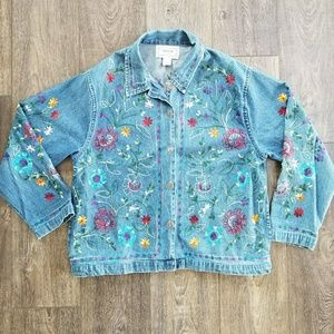 Tantrums Jean Floral Embroidered Jacket Vintage